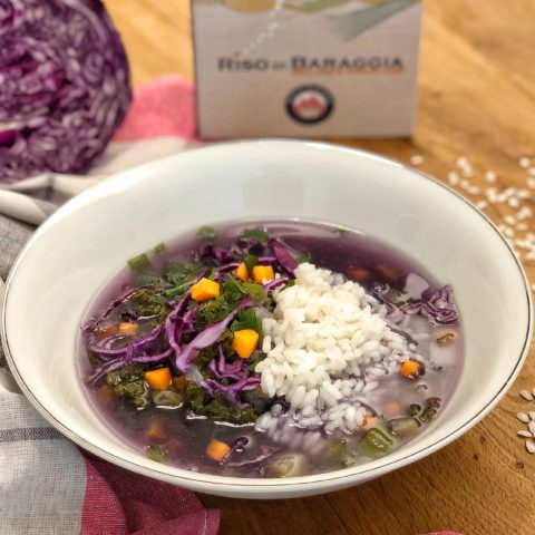 Arborio Baraggia rice PDO soup with red cabbage and vegetables